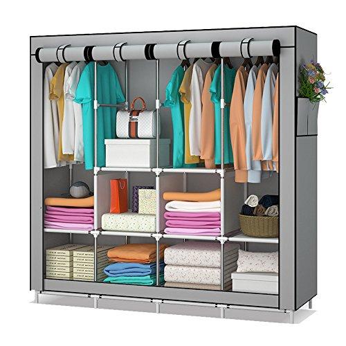 Udear cabina armadio salvaspazio guardaroba appendiabiti in tessuto con tasche laterali grigio