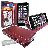 Stylebitz / Étui vintage, classique, rétro, en cuir PU avec pied de support pour Apple iPhone 6 (4.7') avec chiffon de nettoyage Stylebitz (rouge bourgogne)