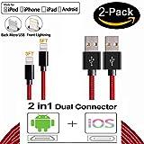 2Pack 1M 1.5M Nylon 2 in 1 iPhone Blitz und Micro USB Ladegerät Kabel - Rot