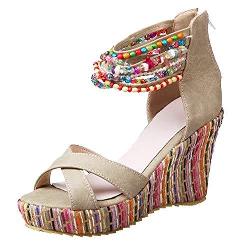 Beladla Sandalias Mujer CuñA Esparto Zapatos con Cuentas Playa De Las Sandalias Pescado Shoes De TacóN Alto Chancletas Zapatillas Bohemia Maxi