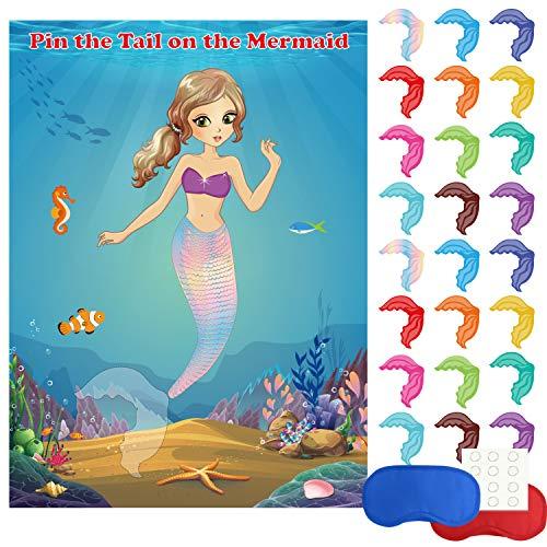 FEPITO Meerjungfrau Party Lieferungen Pin The Tail auf der Meerjungfrau Party Spiel mit 24 Stück Schwanz Aufkleber für Meerjungfrau Party Favors, Kinder Geburtstag Party (Baby Pin Schwanz Das Auf Der)