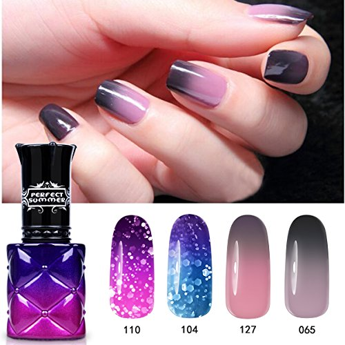 Perfect Summer Vernis à Ongles Caméléon Semi Permanent Couleur Change à Température Nail Art Manucure 4 pcs x 8ml, lot 02