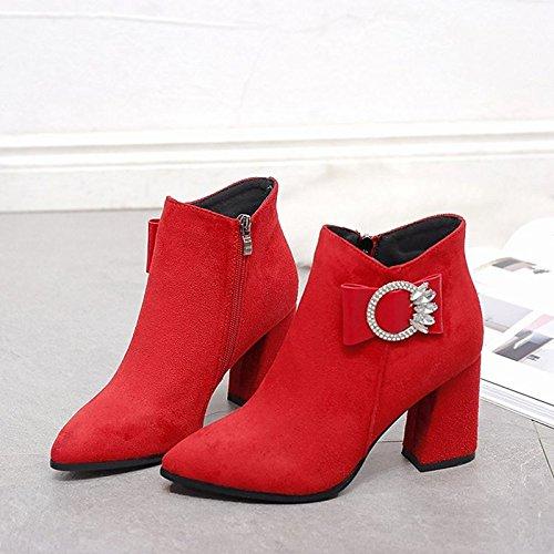 HSXZ Scarpe donna pu inverno combattere Stivali Stivali tacco Chunky Round Toe stivali Mid-Calf Bowknot di abbigliamento casual Rosso Nero giallo Black
