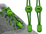 JANIRO Elastische Schnürsenkel mit Schnellverschluss – Schnellschnürsystem für Schuhbänder ohne binden - Kinder & Erwachsene (Grün reflektierend)