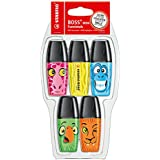 STABILO BOSS Mini - Marcador fluorescente mini - Edición limitada Funnimals - Pack con 5 colores