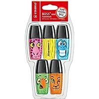 STABILO BOSS Mini - Marcador fluorescente mini - Edición limitada Funnimals - Pack con 5 colores
