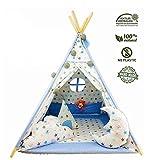 Kinder Spielzelt Teepee Tipi Set für Kinder drinnen draußen Spielzeug Zelt Indianer Indianertipi mit Fenster usw. Tipi mit Zubehör - Blauer Stern