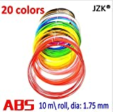 JZK® 20pcs x 10m Multi Color ABS 3D Print Filament