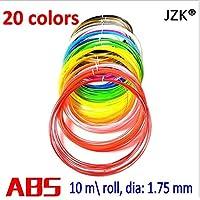 JZK® 20 Pz ,10m / pz, 1.75mm ABS Filamento filamenti per penna 3D / stampante 3D, 20 colori - Nero, bianco, grigio, rosso, rosa, viola, blu, verde, giallo, oro, arancio, argento, marrone, nudo, trasparente, fluo verde, fluo blu, fluo arancio, fluo rosso, fluo giallo