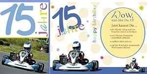 Carte d'anniversaire avec chiffre 15Go-kart lot de 5