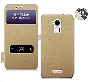GoRogue Window Slim Flip Cover with Convertible Back Stand For Coolpad Dazen Note 3 (Gold)