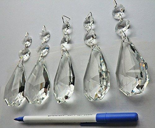 Durchsichtige Kronleuchter-Tropfen , 5 Stück, große Auswahl an Formen, transparente Tröpfchen , geschnittene Glaskristall-Perlen , Weihnachtsbaum-Ornamente , Vintage, Hochzeiten, Wunschdekorationen , Prismen mit antikem Look , leichte Ersatzteile , Kunsthandwerk von Seear Lights, glas, farblos, 62mm XL Square Oval, twist-cap (Eiszapfen-glas-ornamente)