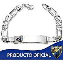 Esclava escudo Málaga CF plata de ley caballero hueca [8508GR] - Modelo: MA802-C - Personalizable - GRABACIÓN INCLUIDA EN EL PRECIO