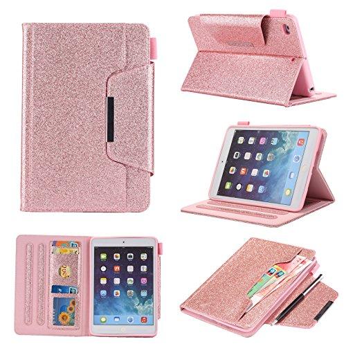 iPad Mini 5 Hülle, 2019 Tablet, Leder, dünn, glitzernd, luxuriöse Hülle mit Stifthalter für Apple iPad Mini 1/2/3/4/5 Pink Rose 215 * 145 * 20MM (Ipad Mini Tasche Pink Bling)