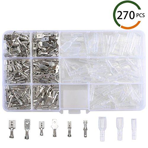 270 Pcs Flachsteckhülsen, MIHOUNION FlachsteckerSet männliche&weibliche Kabelschuhe 2.8/4.8/6.3MM Crimpverbinder mit Isolierhülse -