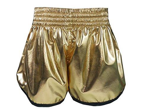 Kanong Damen Muay Thai Kick Boxing Boxen Hosen Shorts : KNSWO-401-Gold Size L