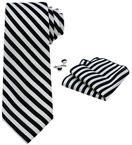 OCIA® rayas para hombre corbata de seda Conjunto:corbata + pañuelo bolsillo cuadrado + un par de gemelos + caja de regalo - T022 Original