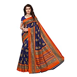 Yashika women's art silk kalamkari and bhagalpuri style saree with blouse piece (Multi-Color_Free_Size) SDPL-SAMPURNA (2) SDPL- NAVY