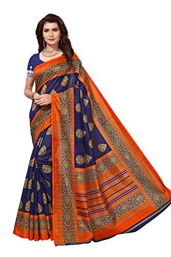 Yashika women\'s art silk kalamkari and bhagalpuri style saree with blouse piece (Multi-Color_Free_Size) SDPL-SAMPURNA (2) SDPL- NAVY