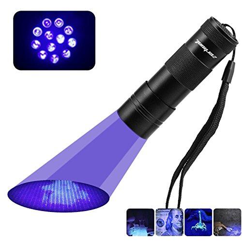 UV Schwarzlicht Taschenlampe mit 12 LEDs, Zerhunt Haustiere Urin-Detektor für eingetrocknete Flecken Ihrer Hunde und Nagetiere auf Teppichen Vorhänge, inkl. 3xAAA-Batterien