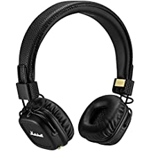 Marshall Major II - Auriculares de diadema cerrados (Bluetooth, micrófono, mando a distancia integrado, diafragma de 40 mm), color negro