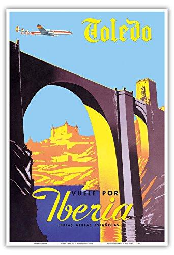 Toledo, Spanien - Die Kaiserstadt - Fliegen Sie mit Iberia (Spanische Fluggesellschaft) - Vintage Retro Fluggesellschaft Reise Plakat Poster c.1950s - Kunstdruck - 33cm x 48cm Außerhalb Der Usa Versand