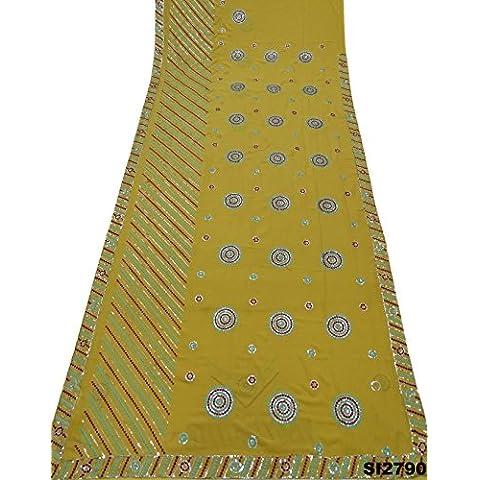 Partido indio del desgaste del vestido de Bollywood amarillo del arte de la vendimia tradicional sari mezcla de seda bordado pesado sari sarong
