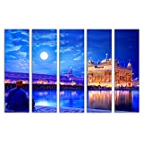 #9: Trendzy Wooden Multiple Frame Wall Painting/Modern Art Digital Print, 5 Panels (Theme: Golden Temple Amritsar Painting; Size: L-105 X H -65 X W-0.5 Cms)