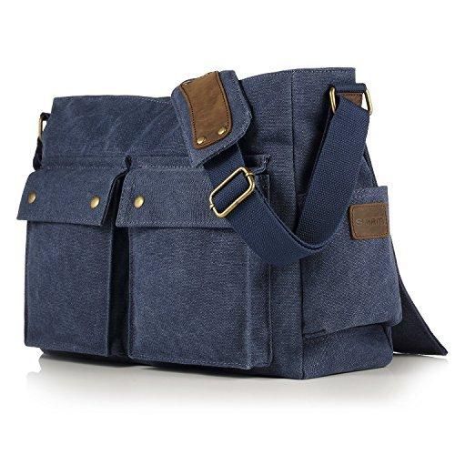 SMRITI 16-Zoll Canvas Umhängetasche Schultertasche Messenger Bag - Blau