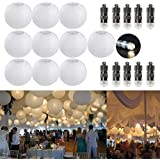 10 Paper Lantern White Lantern + 10 Warm White Mini LED Balloons Lights, Round Lampshade Wedding Party Decoration Paper Lamps, White, 20cm