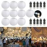 """FullBerg ® 10er Papierlaterne 20cm weiß Lampions + 10er Warmweiße Mini LED-Ballons Lichter, rund Lampenschirm Hochtzeit Party Dekoration Weihnachten Baum Papierlampen 8"""""""