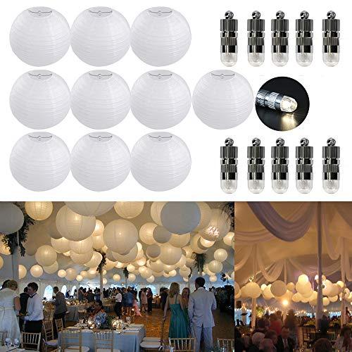 10er Papierlaterne 20cm weiß Lampions + 10er Warmweiße Mini LED-Ballons Lichter, rund Lampenschirm Hochtzeit Party Dekoration Papierlampen 8