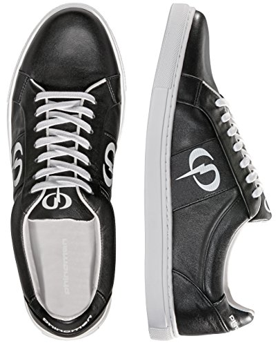 PHINOMEN PHILING LEATHER Sneaker - Handarbeit - made in Portugal - Black/White - Größe 45 (Handarbeit Schwarze Kalbsleder)