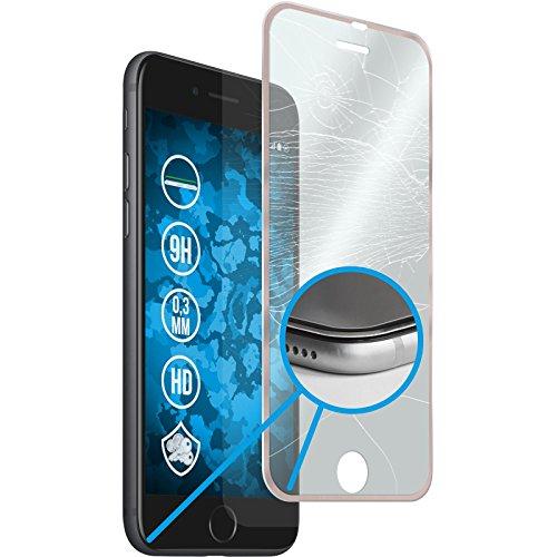 1 x Apple iPhone 8 Plus Pellicola Protettiva Vetro Temperato chiaro full screen con telai metallici in nero - PhoneNatic Pellicole Protettive Oro Rosa