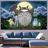 yhyxll Drucken Hayao Miyazaki Totoro Nachbar auf Leinwand Anime Movie Art Poster Moderne Cartoon Wandbild für Wohnzimmer Bilder Decor B 50x70 cm
