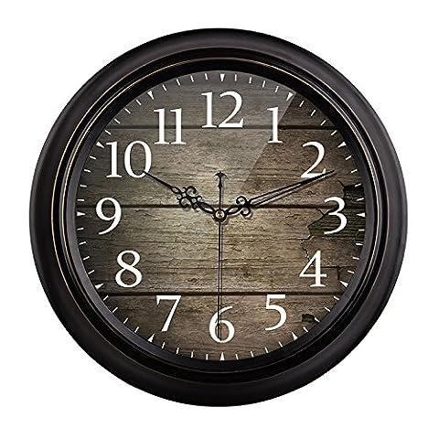 cleck Continental Retro Wanduhr Antike Uhr American Country Wohnzimmer Einfache Europäische Industrielle Wind Kreative Große Uhr,14 Cm,G019 Retro - Retro - Grenze