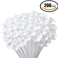 Balloon Sticks,IBanana 200 Pcs Plastic Thicken Milk-White Balloon Sticks Holders with Cups Suit for Wedding, Birthday, Holidays, Anniversary, Party Decor