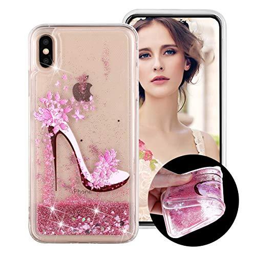 Flüssig Hülle für iPhone XS Max, Obesky Bling Glitzer Treibsand Handyhülle Transparent Weiche TPU Silikon Schutzhülle mit Rosa High Heels Muster Kreativ für Apple iPhone XS Max (6.5 Zoll) 2018 6 1/2-zoll-high-heels