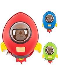 Mochilas Rocket CKB Ltd® de jardín de infantes, guardería y escuela para niños y bebés | Mochila colorida y divertida para niñas y niños | Diseño de nave espacial 3D prémium | Duradera | Impermeable | Para todas las edades con correas acolchadas ajustables RED ROCKET