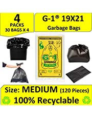 G 1 Garbage Dustbin Black Bags and Covers Medium Size - 19 X 21 Inch - 4 Packs - 120 Pieces - Trash & Waste Disposable