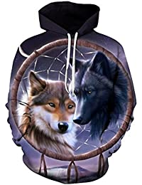 ES 3D hoodie Dreamcatcher Wolf Hombres Mujeres Sudaderas con Capucha Ch¨¢ndales Masculinos Casual