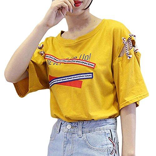 TWIFER Sommer Damen Kurzarm T Shirt Weste Logo Gedruckt Bandage Tank Top Bluse (Lichtenstein-t-shirt Roy)