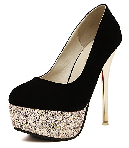Aisun Damen Cool Sexy Pailletten Metallic Hoch Absatz Stilettos Pumps Schwarz