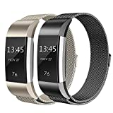 Sun studio Fitbit Charge 2 Armband, Milanese Fitbit Armbänder Ersatzarmband Edelstahl Fitbit Armbänder Charge 2 mit Magnet-Verschluss Armband für Fitbit Charge 2 (5.5