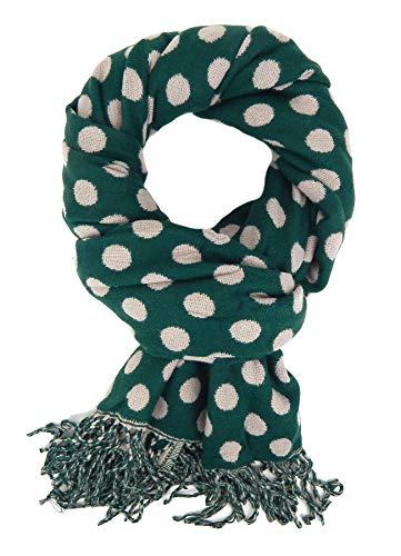 Ella Jonte Schöner breiter Damenschal Winterschal grün beige mit Punkten Herbst und Winter Wendeschal 1 Style - 2 Looks - Taschen Mit Wollschal