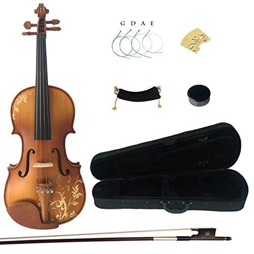 Kinglos 3/4 Blume Geschnitzten Ebenholz Beschläge Massivholz Violine Geige mit Harten Fall, Schulterstütze, Bogen, Kolophonium, Brücke und Saiten - 3 4 Saitenhalter Geige