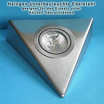 5er Set dreieckige Unterbauleuchten Edelstahl mit Zentralschalter von Rolux auf Lampenhans.de