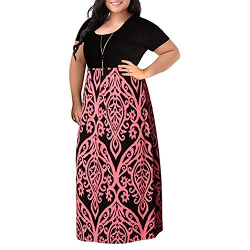 röße Kleider Frauen Chevron Print Kurzarm Boho Kleid Böhmen Kurzes Kleid Sommerkleid Partykleid Strandkleid Cocktailkleid (L, Rosa) ()