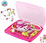 Vivir Bring Along Suitcase Pretend Play Role Playing Doctor Set Toy for 3 Year Old Boy and Girl, Medium (Pink)