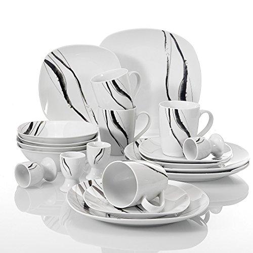 VEWEET Kombiservice 'Teresa' aus Porzellan 20 teilig | Frühstückservice für 4 Personen | mit je 4 Eierbecher, Kaffeebecher 350 ml, Müslischalen, Dessertteller und Flachteller